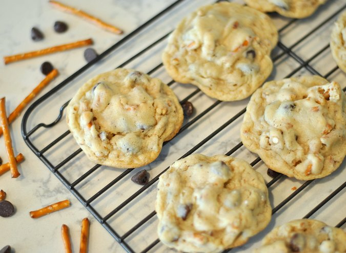 Sweet and Salty Chocolate Chip Pretzel Cookies