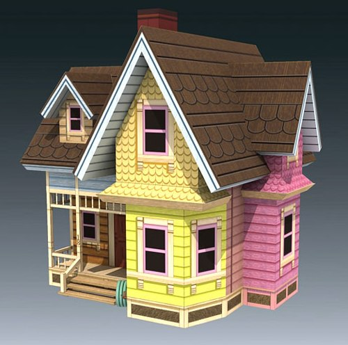 Up movie carl 39 s flying house papercraft model paperox for Model house movie