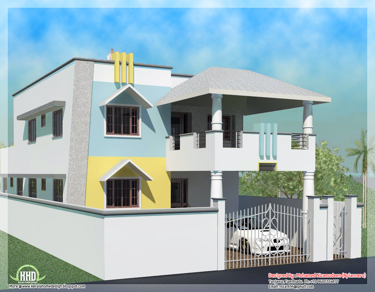 2200 sq feet minimalist tamilnadu style house kerala homes for Tamilnadu house designs photos