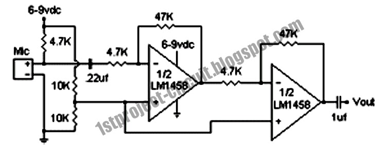project circuit design  electret condenser microphone amplifier circuit using lm1458