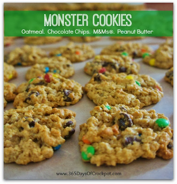 Recipe for Monster Cookies.  Oatmeal. Chocolate Chips. M&Ms. Peanut Butter. #cookies #dessert