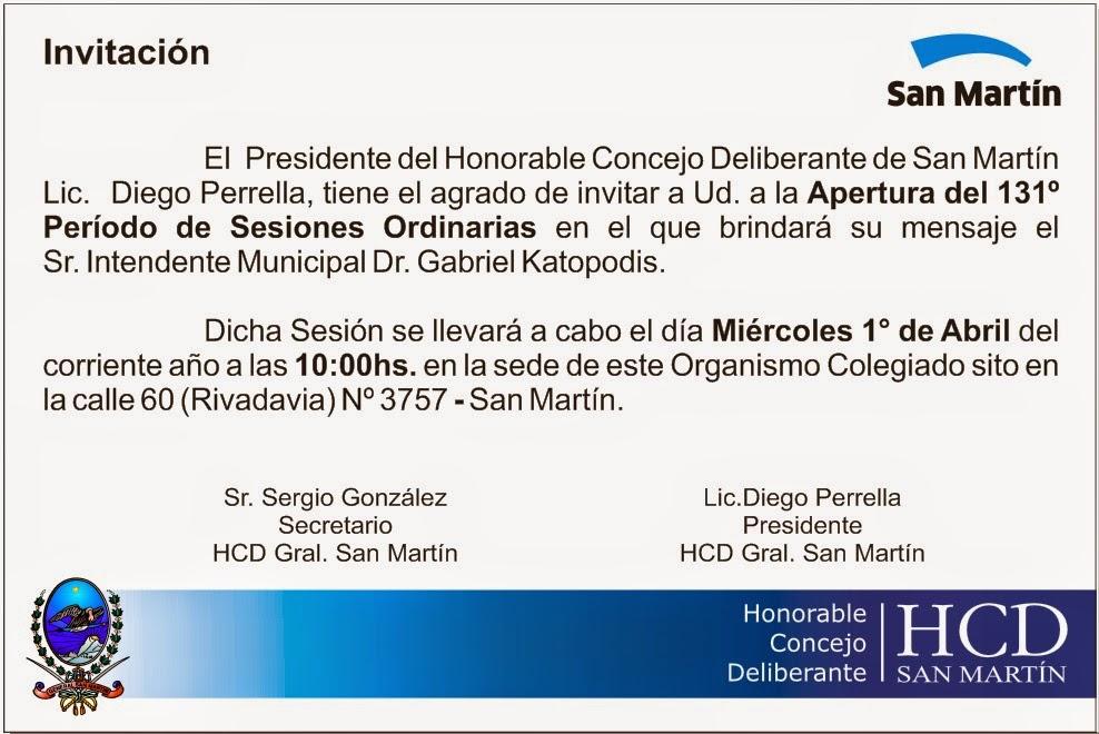 Apertura de las Sesiones Ordinarias HCD