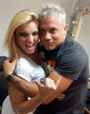 Carol Reali (Cachaza) junto a Mathias Brivio