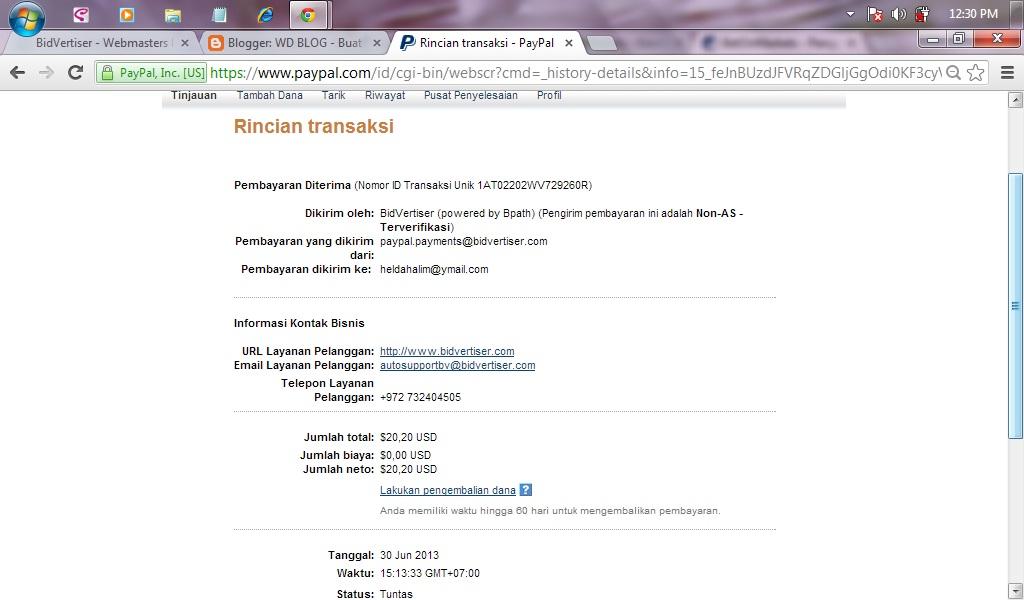 Bukti pembayaran dari bidVertiser juni 2013