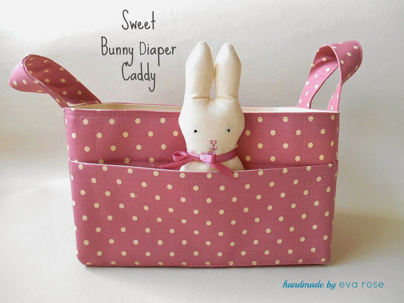 pink dots fabric basket with bunny for nursery storage