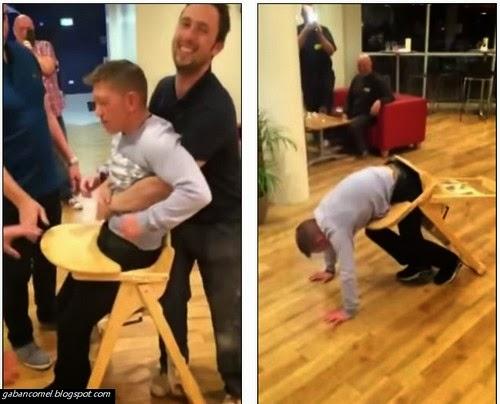 Lelaki Ini Terpaksa Berb0g3l Setelah Tersangkut di Baby Chair