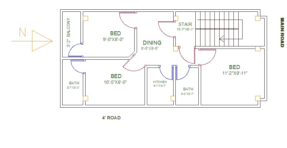 civil engineering a plan of home having 17ft 3inx 36ft 3in dimension