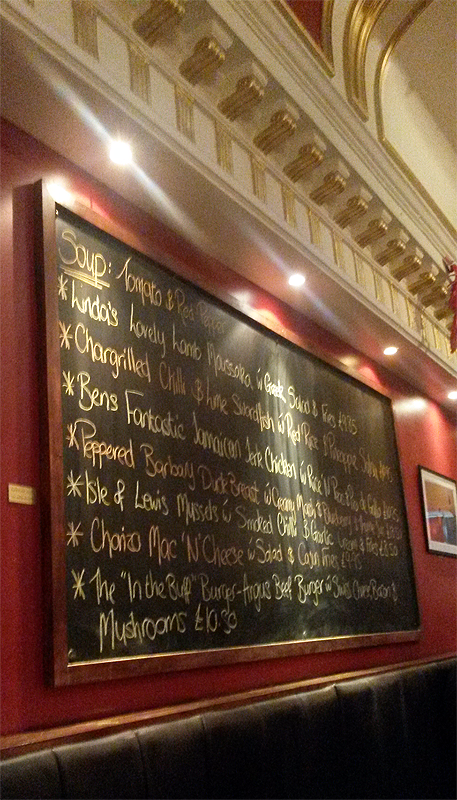 A blackboard of splendid special dishes.