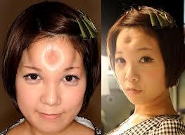 two headshots of girl with bagel head