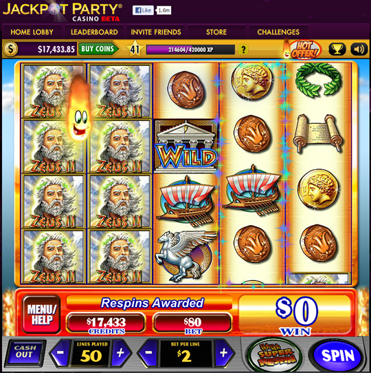 jackpot party casino jugar gratis zeus