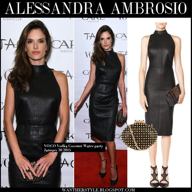 8fd71c41c6d7 Alessandra Ambrosio in black leather fitted dress Tamara Mellon with black  pumps and black studded clutch