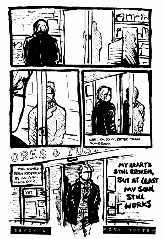 Post Conatus comic strip about automatic door at post office by Alex Hahn