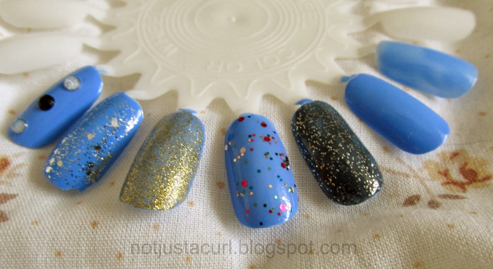 A photo of different ways to wear Barry M Gelly Nail Paint in Blueberry