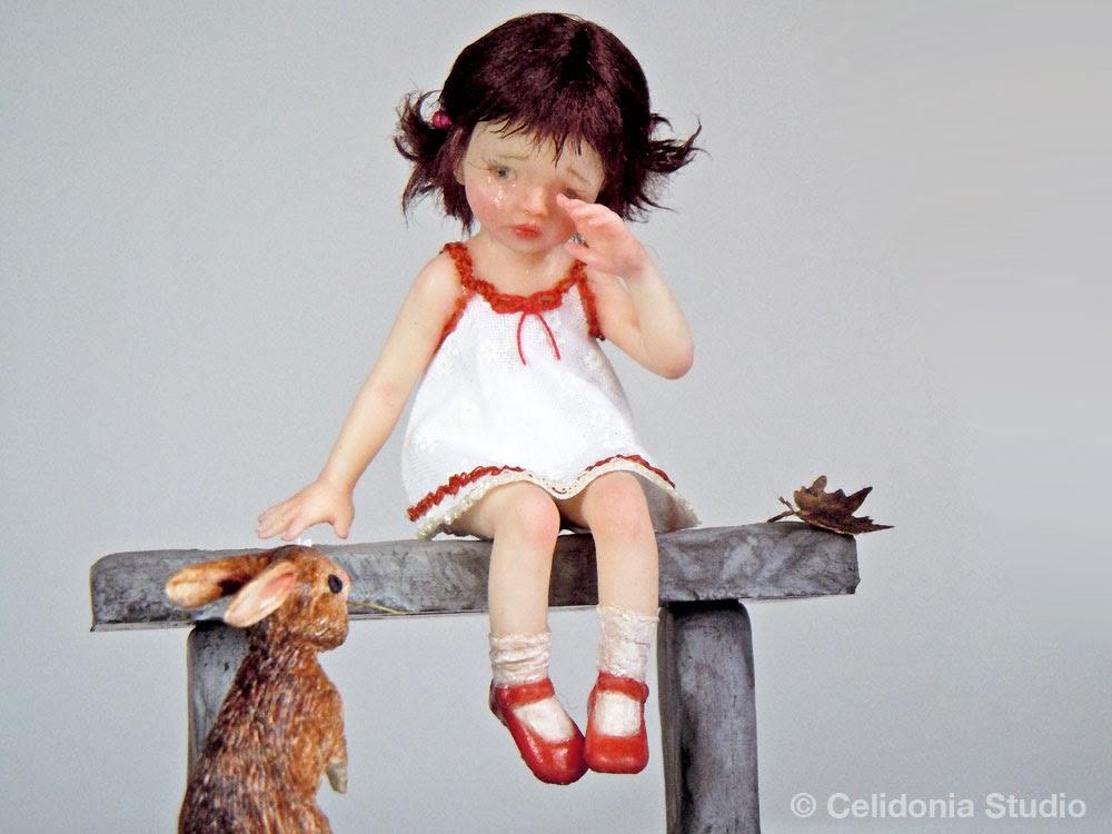 OOAK Art Doll, Bimba con  amico Coniglio