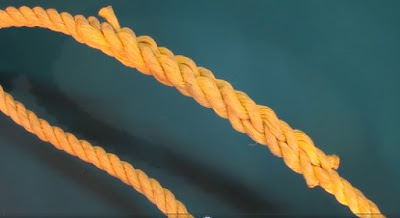 braided loop of a yellow rope