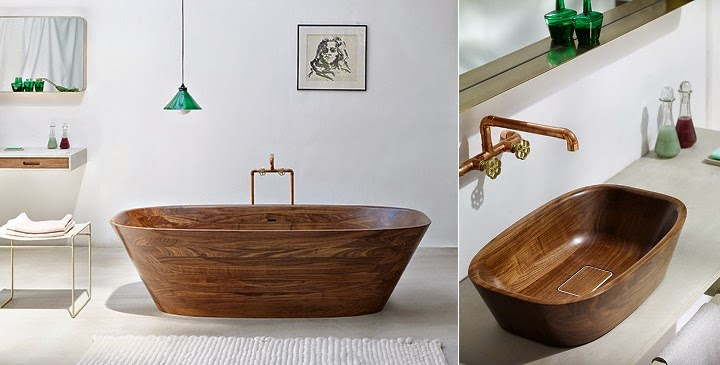 Marzua: Preciosa bañera de madera de nogal