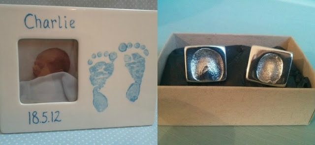 Baby footprint on a frame, and thumb print cufflinks