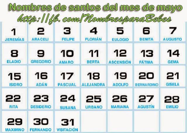 Nombres de santos del mes de mayo