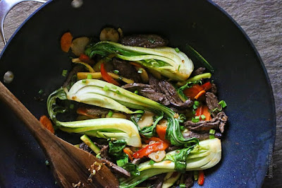 Skirt Steak, Baby Bok Choy and Zucchini Stir-Fry