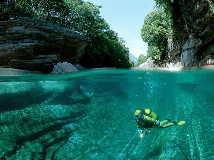 The Verzasca River, in Switzerland, is known all over the world for its clear, turquoise waters, but until now its beauty had only been captured from the surface.