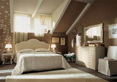 dormitorio matrimonial marrón y crema