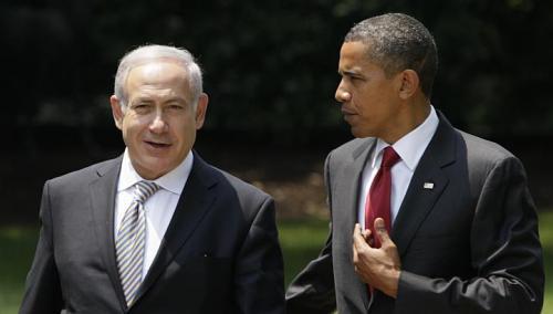 US President Barack Obama talks with Israeli Prime Minister Benjamin Netanyahu