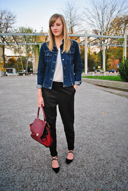 trapeze bag, celine lookalike, oxblood red bag, leather sweatpants, asos leather pants, baggy leather pants, mesh h&m shirt, denim jacket, jeans jacket, fashion blogger, fall look 2013, autumn look, fashion blog, asos hih heels, strappy heels, ankle strap heels