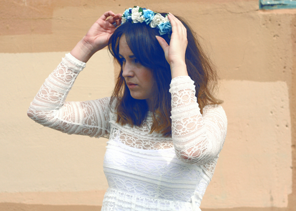 blue rose crown, blue flower headband, lace dress, never fully dressed, uk fashion, fashion blogger, top fashion blogger, jeffrey campbell boots, short hair, vintage, spainish dress, never fully dressed