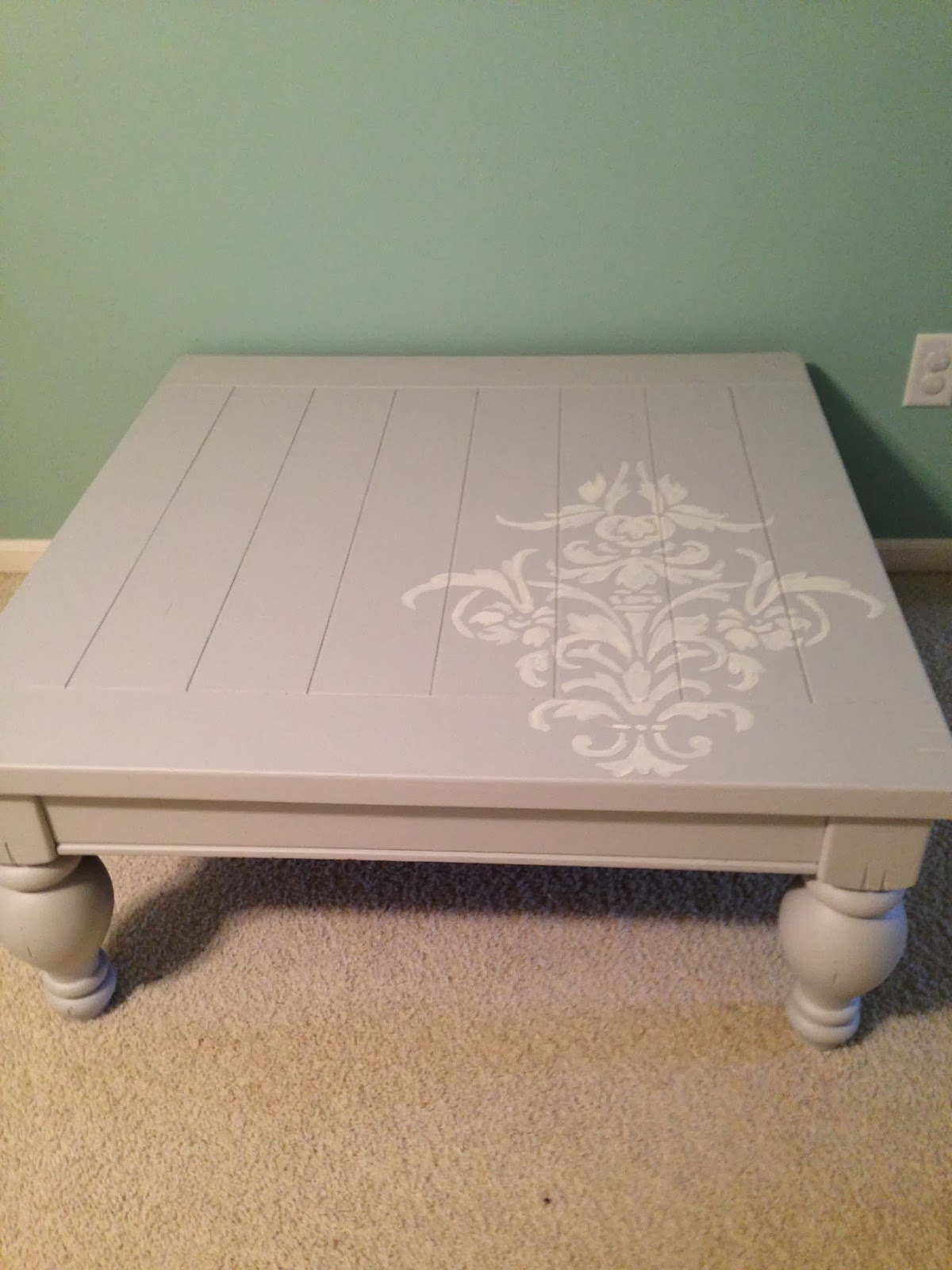 Thrifty Treasures Coffee table makeover no sanding and no wax