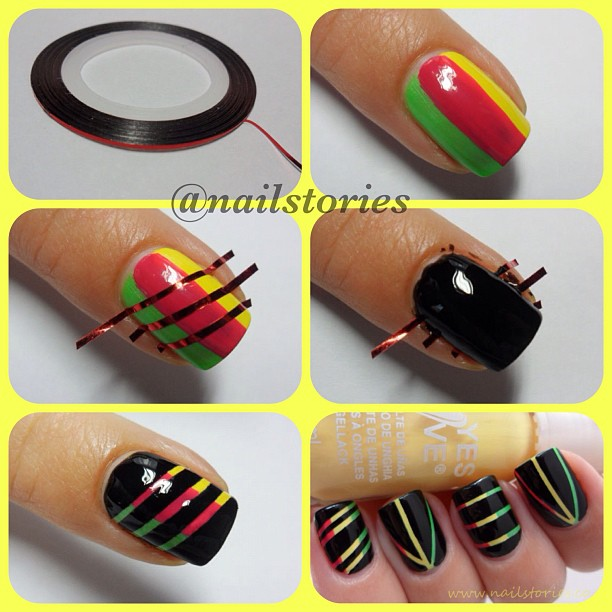 How To Create Colorful Nails With Thin Stripes