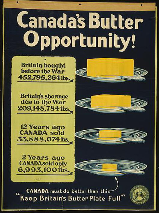 advertising, free download, graphic design, retro prints, vintage, vintage posters, wildlife, food, Canada's Butter Opportunity, Keep Britain's Butter Plate Full - Vintage Food Advertising Poster