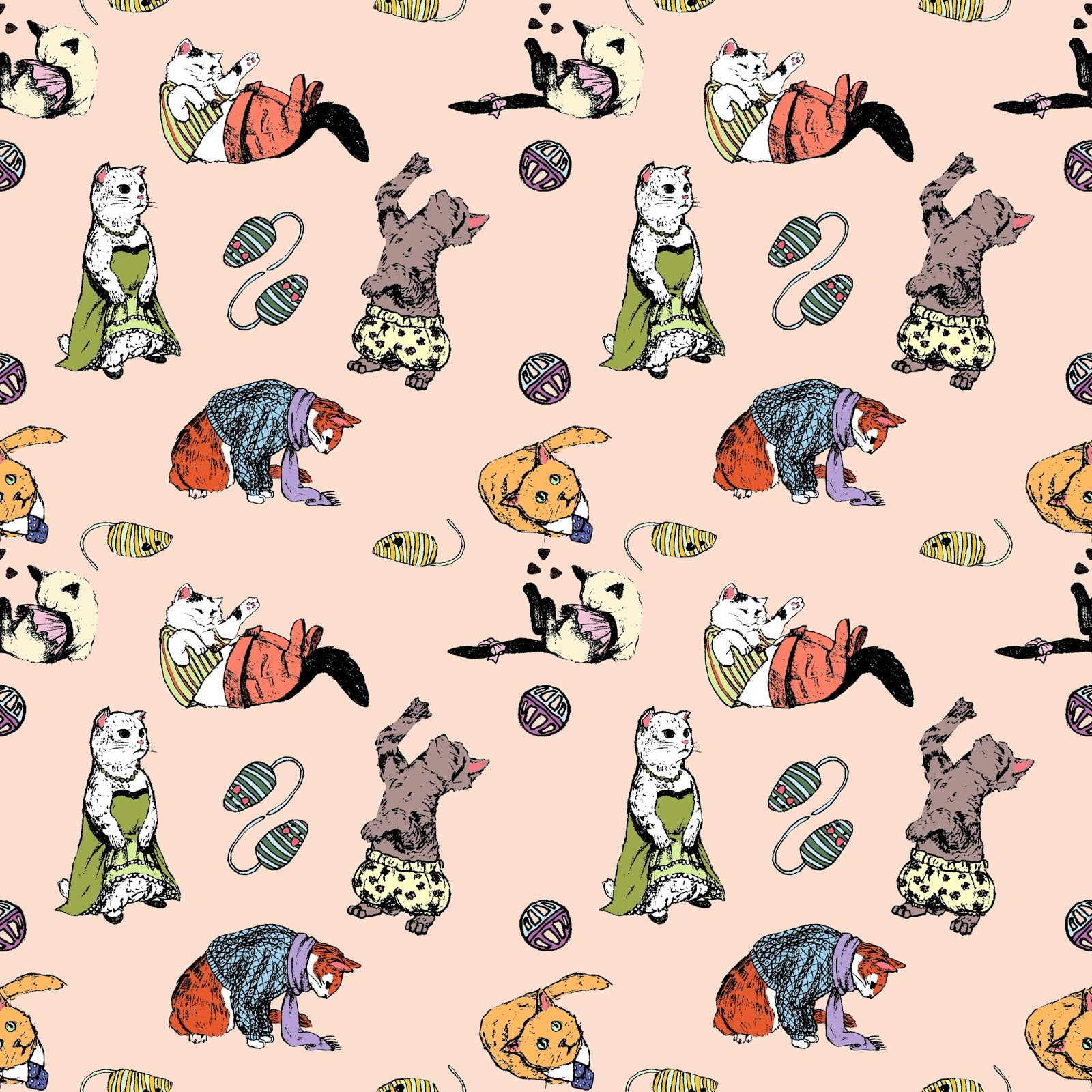 Tumblr Cat Pattern Now, i love drawing cats