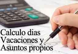 CALCULO VACACIONES Y DÍAS ASUNTOS PROPIOS
