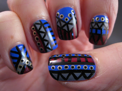 Tribal-nail-art-blue-grey-red-gold