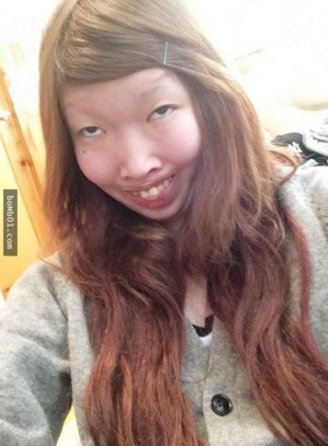 Cô gái khi không trang điểm có đôi mắt một mí, răng hô rất xấu.