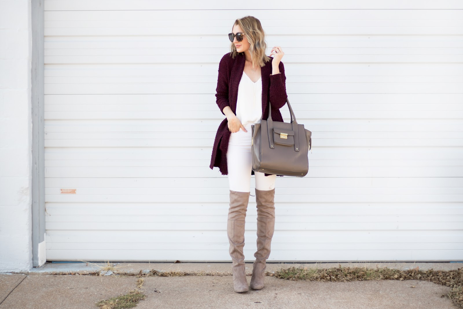Burgundy and cream outfit