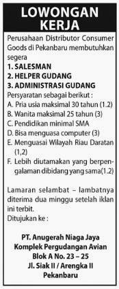 Lowongan Kerja PT.Anugerah Niaga Jaya