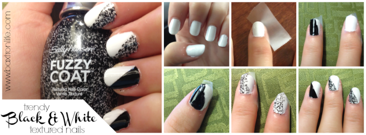 trendy black and white textured nail art tutorial #iheartmynailart #shop