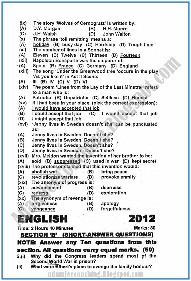 English-2012-past-year-paper-class-XI