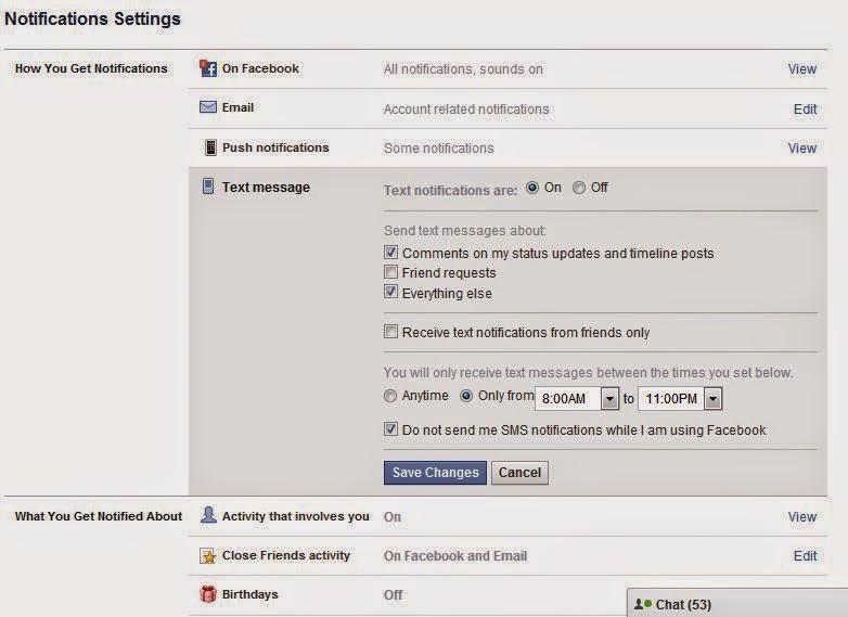 cara mengnonaktifkan disable notifikasi sms facebook