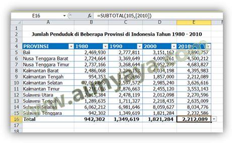 Gambar: Contoh Tabel di Microsoft Excel 2010