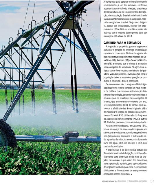 Irrigação: Enorme potencial - Fonte: Máquinas & Inovações Agrícolas