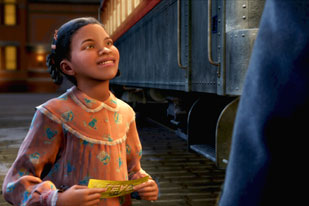 Girl with ticket Polar Express 2004 animatedfilmreviews.blogspot.com