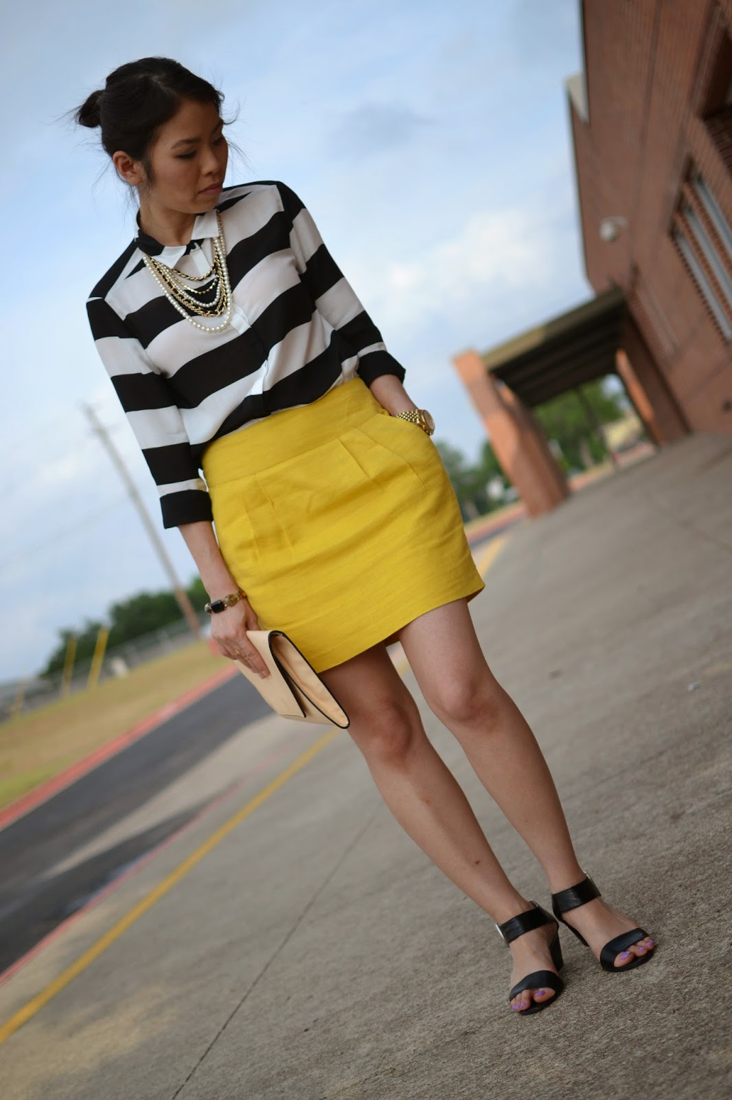 Yellow blouse and black pencil skirt
