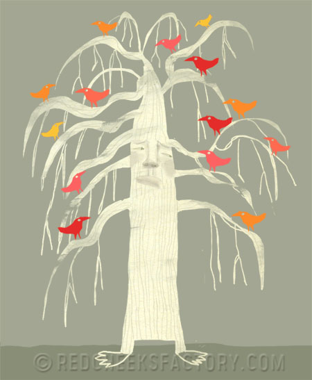 colored birds on weeping willow illustration