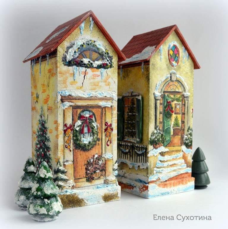 Чайные домики декупаж новогодний