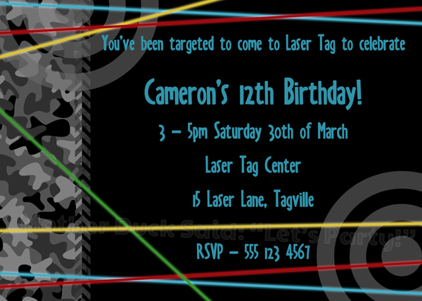 Mother Duck Said Lets Party Laser Tag Birthday Party Invitations – Laser Tag Party Invitations
