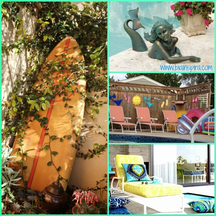 Objetos decorativos variados para decoração de ambiente externo, piscina. quintal