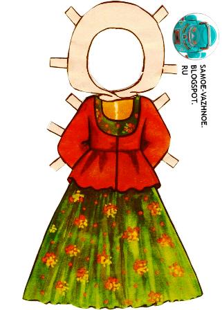 Бумажная кукла Таня костюмы народов СССР