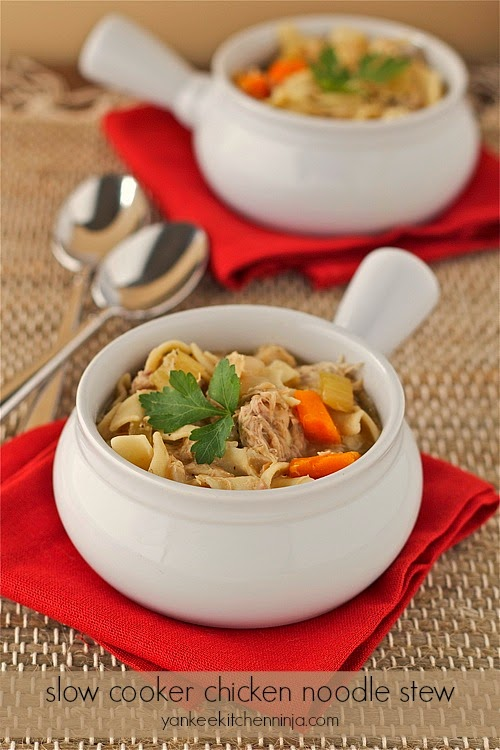 Hearty slow cooker chicken noodle stew